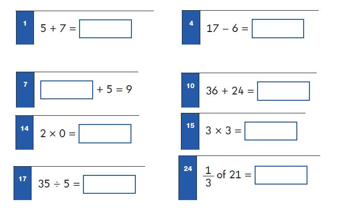 Key Stage 1 SATs Maths Test - Arithmetic